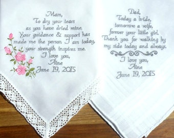 Embroidered Wedding Handkerchiefs wedding gift Embroidered Gift Wedding Handkerchiefs Set of 2 Mom Gift Dad Gift Parents Canyon Embroidery