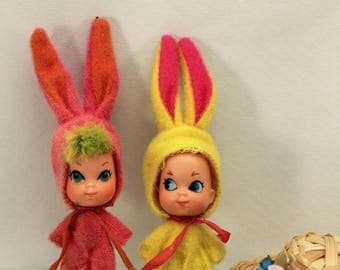 2 Liddle Kiddle Funny Bunnies Animiddle Pink and Yellow 1969 Easter