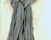 Huge Gray Nomad Scarf, Cotton Gauze Scarf, Extra Long Scarf, Raw Edges, Hand Dyed