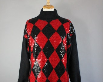 Vintage 80s 1980s Women's Black Red Diamond Harlequin Pattern Beaded Sequined Holiday Christmas Pullover Turtleneck Sweater