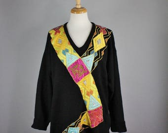 80s Abstract Long Sweater, New Wave, Modern Art, Geo Sweater, Novelty Sweater, Beaded Sweater, Art Clothing, Size Large