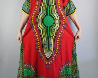 Red Daishiki African Print Caftan Dress, Festival, Hippie Dress, Boho, Cotton Dress, Ethnic Tribal, Vintage Women's, Size Large