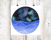 The Aries Constellation above an ocean of waves watercolor print, Galaxy Art, Zodiac Print, Aries Painting, Aries Print Digital Download