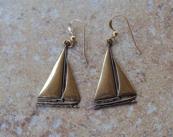 Sailboats, Brass Tone, Pierced Vintage Earrings, Marked 14/20 GF