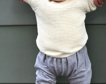 handmade thermal raglan sweatshirt / NON NOON waffle baby girl and boy cream sweater / newborn to 6 month to 12 months