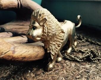 1970's Vintage Park Lane Walking Lion Necklace - Signed - Statement Piece - Large Lion Necklace - EPSTEAM - Collectable Designer Jewelry