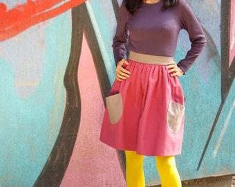 Purple Skirt, Wrap Skirt, Pocket Skirt, Everyday Skirt, Flared Skirt, Pinup Skirt, Retro Skirt, 70s Skirt, Summer Skirt, Festival Clothing