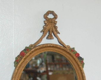 Antique Oval Gold Gilt Gesso on Wood, with Beautiful Polychrome Cast Iron Ribbon Bow & Red Rose Garland Wall Mirror by E.J.S. MFG. CO. NY