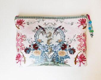 Free Shipping Mother's Day Bridal Clutch Pink Tulip Blue Floral Bird Design Leather Bridal Purse bag Wedding Bridesmaid clutch Evening Bag