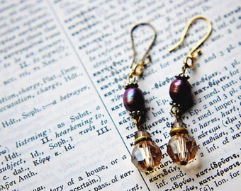 Earring Purple Orchid Cultured Freshwater Pearl, Amber and Clear Swarovski Crystal with Gold Beads