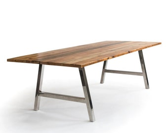 Reclaimed Conference Table, Harvest Table, Urban Wood Table with your choice of wood finish and steel base