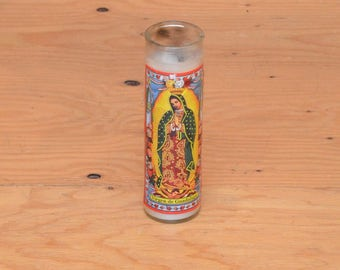 Large Religious Glass Candles With Our Lady Of Guadalupe Image