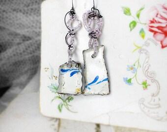 Rustic Tin & Wire Earrings - Unusual Assemblage Earrings - Folded Tin Empty Bezel Boxes - Pink Glass Seed Beads on Steel Wire, Blue Flourish