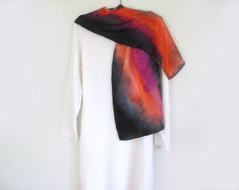 Silk Scarf, Hand-Painted Bold Statement, Red Black , Purple