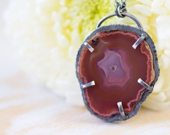 Red Laguna Agate Slice Necklace, Sterling Silver Statement Necklace - Muse and Reverie
