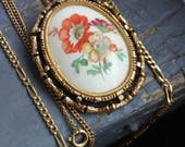 Fanciful Pair - vintage 70s Victorian floral hand painted, signed Faberge egg, chain, oval pendant or brooch & retro figaro chain chains set