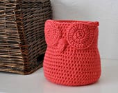 Coral Owl Basket Crocheted Bin Yarn Holder Woodland Nursery Decor Modern Home Organizer
