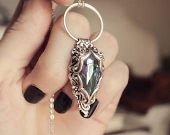 Aged Silver & Swarovski Light Vitrail Pendant - Necklace - Purple - Fantasy Winter Wedding - Love - February - Valentines Day - Mardi Gras