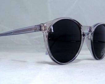 Vintage 80s Large Round Blue Sunglasses.