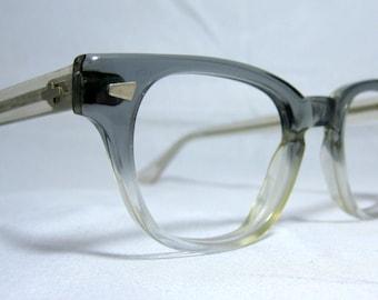 Vintage 60s EyeGlass Frames. Mens Horn Rim Gray Fade Frames
