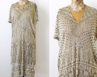 Incredible 1920s Egyptian Assuit Dress/Egyptian Revival/Party Dress/1920s Flapper Dress/Metallic/Hammered Sterling