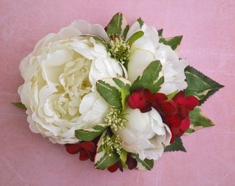 Spring peony trio in cream white with raspberries and red hydrangea vintage wedding bridal hairflower rockabilly pin up