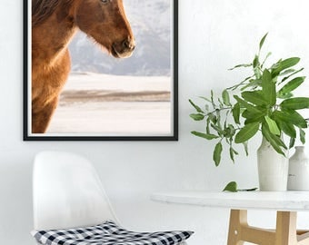 Vertical Horse Picture in Color | Western Chestnut Horse in Mountains | Rustic Home Decor
