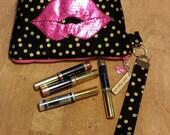 Distributors wristlet bag for LipSense, purse, black gold poke a dots, holds  20-21 lipsticks & additional supplies