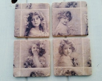 Vintage style Victorian Girls Stone Coaster Set of 4 Tea Coffee Beer Coasters