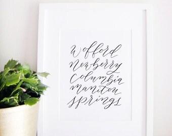 Wedding Sign Calligraphy Print - Wedding Reception Decor - Reception Sign - Wedding Decor - Special Places
