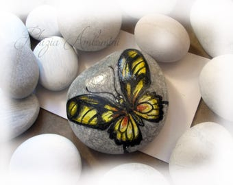 Handpainted Butterfly No.11  rock painting, handpainted stone, miniature, painted, rock art, blue
