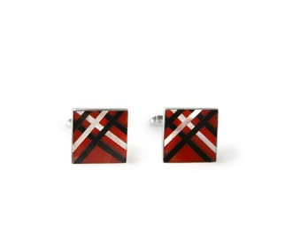 Square Criss Cross Carnelian and Mother of Pearl Inlay Sterling Silver Cufflinks