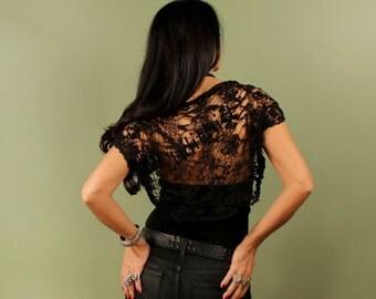Black Knit Shrug, Knit Loose Bolero, Short Sleeve Evening Shrug, Gift For Women, Evening Bolero, Women Fashion Black Cover Up