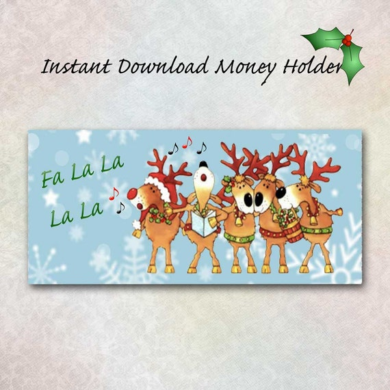 Christmas Money Holder Singing Reindeer DIY Printable
