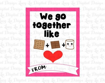 VALENTINES - S'MORES Cards - PRINTABLE Valentine Cards