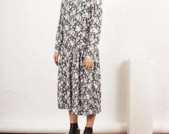 Grey Floral Midi Skirt / Long Sleeve Garden Party Dress / Summer Hipster Dress