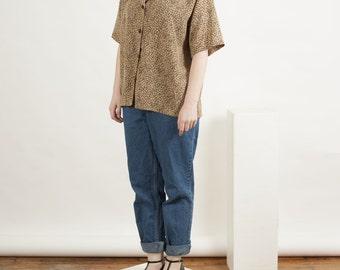 Leopard Button Up Blouse / Retro Short Sleeve Blouse / Women African Blouse