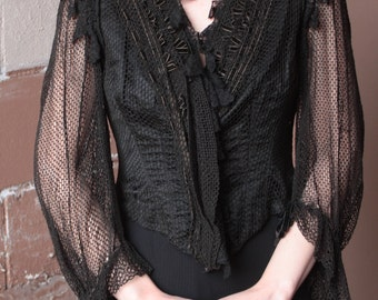 RARE Antique Victorian Edwardian Bodice Jacket // 1900s Black Mesh and Lace Gothic Pointed Hem Boned Corset Blouse with Sheer Sleeves