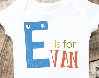 Baby Boy First Name Onesies®, Personalized Onesie, Alphabet Onesie Shirt, A is for Shirt, ABC Baby Shirt, Letter Shirt, Gender Name Reveal