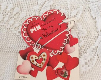 Vintage 1950s Valentine Card Heart With A Safety Pin Collectible Paper Ephemera Arts Crafts Scrap Booking