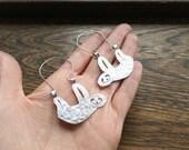 Sloth earrings, tree sloth hoop earrings, creature earrings