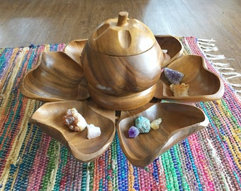 Vintage teak lazy susan, vintage teak wood swiveling platter set