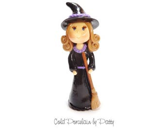 Witch Holding a Broom Figurine, Witch Cake Topper, Cold Porcelain Clay Witch Sculpture, Witch Ornament, Halloween Decor, Keepsake, Gift