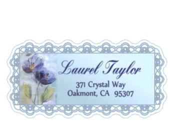 Blue Lacy Floral Address Labels