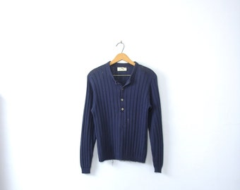 Vintage 70's navy blue henley sweater, size small