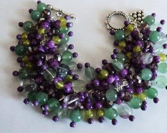 Charm Bracelet, Winery Bracelet, Winery Jewelry, Chunky Bracelet, Gemstone Bracelet, Jade Bracelet, Green and Purple - NAPA VALLEY VINEYARDS