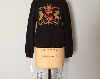 the lion crest sweater | lion print black cotton sweater