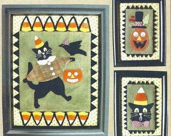 "Primitive Folk Art Wool Applique Pattern - ""TRICK or TREAT"" - By designer Bonnie Sullivan"
