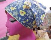 Vintage Head Scarf or Bandana Blue, White, w Yellow Flowers Soft Fabric Triangle w Ties 70's Bohemian Fashion Spring Summer Fashion
