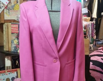 Pink Blazer Lightweight Jacket Size 12 Hot Pink Bretton Place Made in USA 80's Fashion Lined w Slight Shoulder Pads Classy